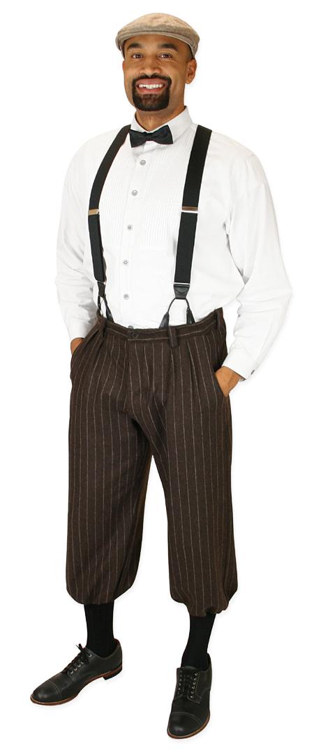 Steampunk Mens Brown Wool Blend Stripe Knicker | Gothic | Pirate | LARP | Cosplay | Retro | Vampire || Drummond Knickers - Brown Stripe