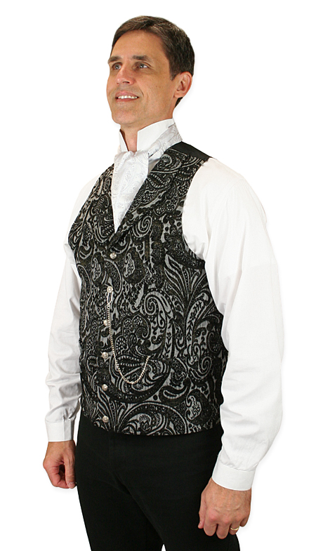 Steampunk Mens Black Floral Shawl Collar Dress Vest | Gothic | Pirate | LARP | Cosplay | Retro | Vampire || Delacourt Tapestry Vest - Black