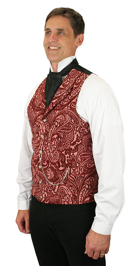 1800s Mens Red Floral Shawl Collar Dress Vest | 19th Century | Historical | Period Clothing | Theatrical || Delacourt Tapestry Vest - Red