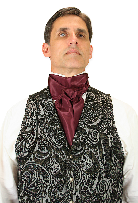 Steampunk Mens Burgundy,Red Solid Cravat | Gothic | Pirate | LARP | Cosplay | Retro | Vampire || Regal Cravat - Burgundy