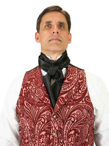 1800s Mens Black Solid Cravat | 19th Century | Historical | Period Clothing | Theatrical || Regal Cravat - Black