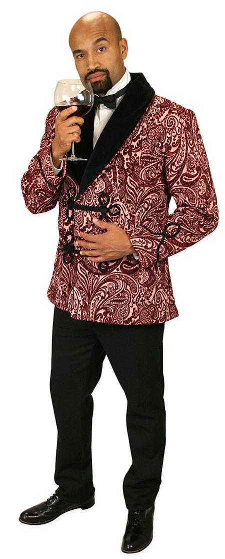Wedding Mens Red Floral Shawl Collar Smoking Jacket | Formal | Bridal | Prom | Tuxedo || Vintage Smoking Jacket - Red Tapestry