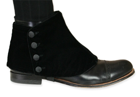 Victorian Mens Black Velvet Spats | Dickens | Downton Abbey | Edwardian || Premium Mens Button Spats - Black Velvet (One Pair)