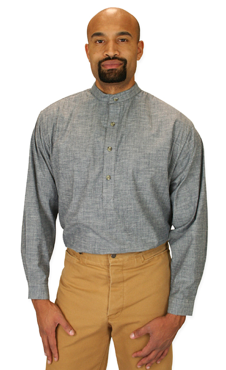 Vintage Mens Gray Cotton Solid Band Collar Work Shirt | Romantic | Old Fashioned | Traditional | Classic || Hubbard Shirt - Stone