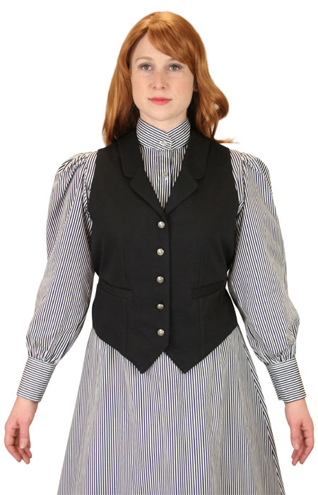 Victorian Ladies Black Cotton Solid Notch Collar Dress Vest | Dickens | Downton Abbey | Edwardian || Ladies Classic Canvas Vest - Black