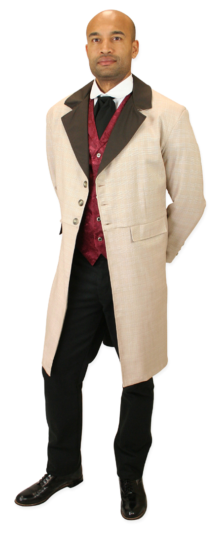 Steampunk Mens Brown,Tan Plaid Notch Collar Frock Coat | Gothic | Pirate | LARP | Cosplay | Retro | Vampire || Wooster Frock Coat - Tan Plaid