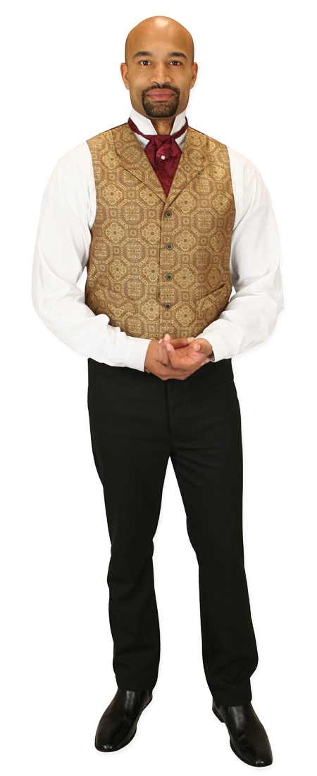 Wedding Mens Brown,Tan Geometric Notch Collar Dress Vest | Formal | Bridal | Prom | Tuxedo || Knightsbridge Vest - Tan
