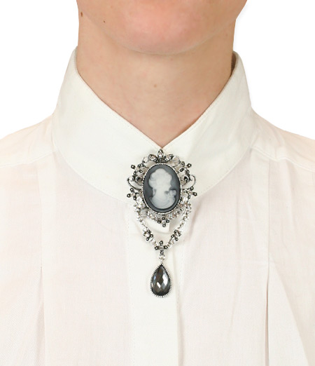 1800s Ladies Silver Pin   19th Century   Historical   Period Clothing   Theatrical    Elegant Jewel Drop Cameo