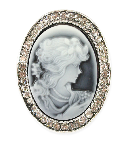 jeweled cameo brooch