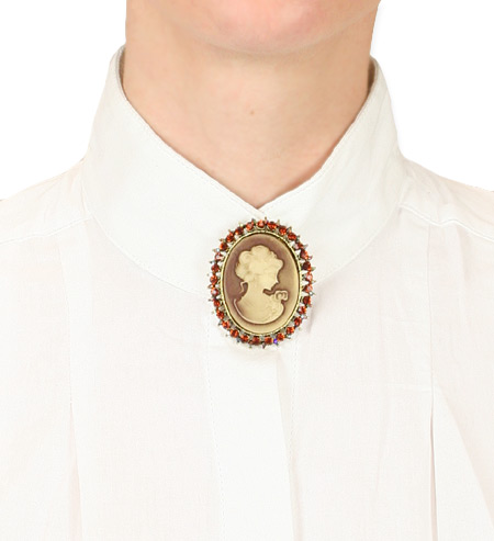 Vintage Ladies Red Pin | Romantic | Old Fashioned | Traditional | Classic || Brilliant Cameo - Sunset