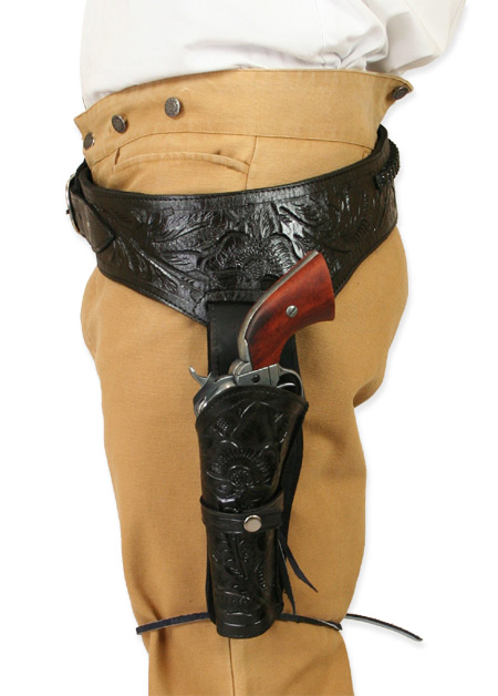 Victorian Mens Black Leather Tooled Gunbelt Holster Combo | Dickens | Downton Abbey | Edwardian || (.22 cal) Western Gun Belt and Holster - LH Draw - Black Tooled Leather