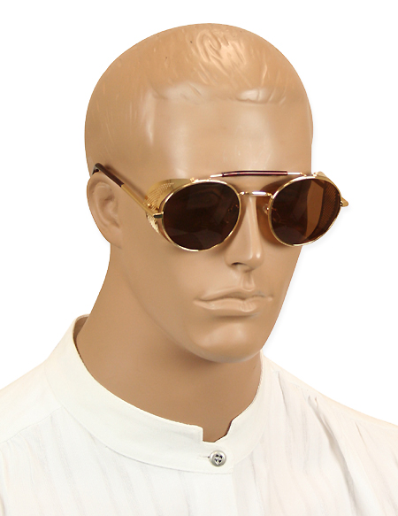 1800s Mens Gold Alloy Sunglasse | 19th Century | Historical | Period Clothing | Theatrical || Chrononaut Sunglasses, Gold with Amber Lens