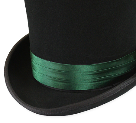 Vintage Mens Green Satin Hat Band   Romantic   Old Fashioned   Traditional   Classic    Hat Band - Emerald Green Satin