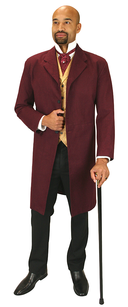 Wedding Mens Red,Burgundy Cotton Solid Notch Collar Frock Coat | Formal | Bridal | Prom | Tuxedo || Gillespie Brushed Cotton Frock Coat