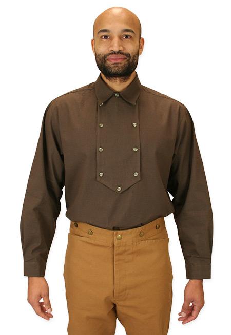 Steampunk Mens Brown Cotton Stripe Point Collar Bib Shirt | Gothic | Pirate | LARP | Cosplay | Retro | Vampire || Appaloosa Shirt - Brown Stripe