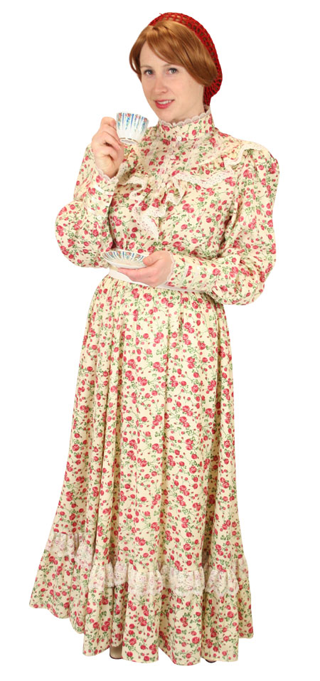 1800s Ladies Ivory Cotton Floral Dress | 19th Century | Historical | Period Clothing | Theatrical || Tabitha Ensemble - Blossom Red