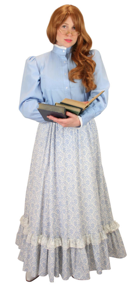 Vintage Ladies Blue Cotton Solid Stand Collar Blouse | Romantic | Old Fashioned | Traditional | Classic || Muriel Pleated Blouse - Blue