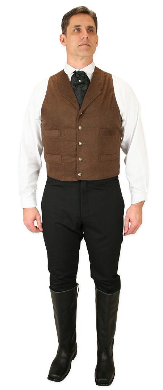 Victorian Mens Brown Solid Notch Collar Dress Vest | Dickens | Downton Abbey | Edwardian || Barnaby Vest - Walnut