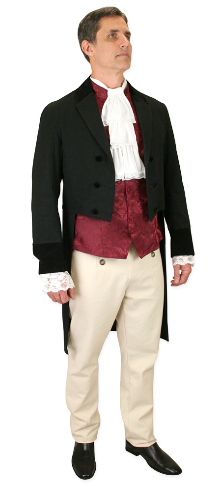 1800s Mens Burgundy,Red Floral Stand Collar Dress Vest | 19th Century | Historical | Period Clothing | Theatrical || Vaughan Waistcoat - Burgundy