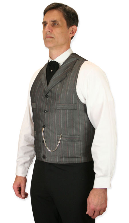 1800s Mens Gray Stripe Notch Collar Dress Vest   19th Century   Historical   Period Clothing   Theatrical    Rothwell Vest