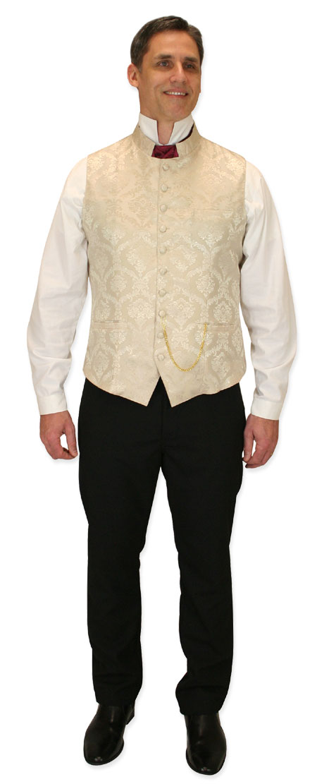 Wedding Mens Ivory Floral Stand Collar Dress Vest | Formal | Bridal | Prom | Tuxedo || Vaughan Waistcoat - Cream
