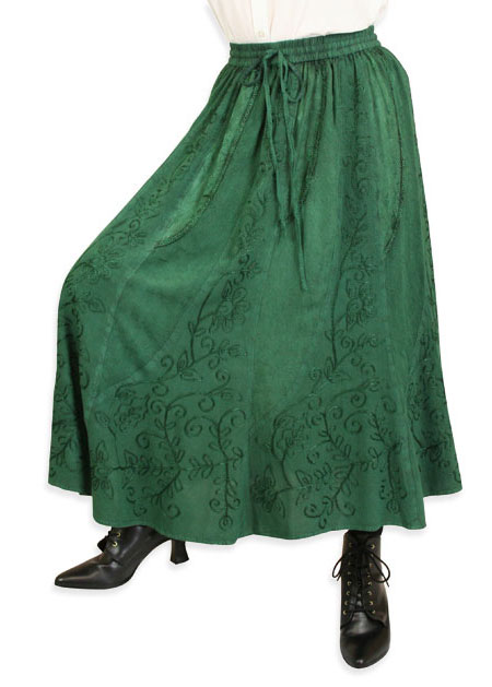 Wedding Ladies Green Floral Work Skirt | Formal | Bridal | Prom | Tuxedo || Swirl Skirt - Hunter Green