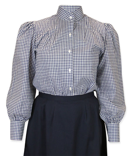 1800s Ladies Blue Cotton Plaid Stand Collar Blouse | 19th Century | Historical | Period Clothing | Theatrical || Wichita Blouse - Blue Plaid