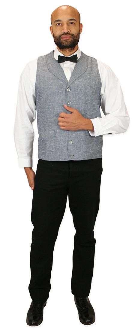 Wedding Mens Blue Cotton Blend Solid Shawl Collar Dress Vest | Formal | Bridal | Prom | Tuxedo || Bayfield Long-Waisted Vest - Navy