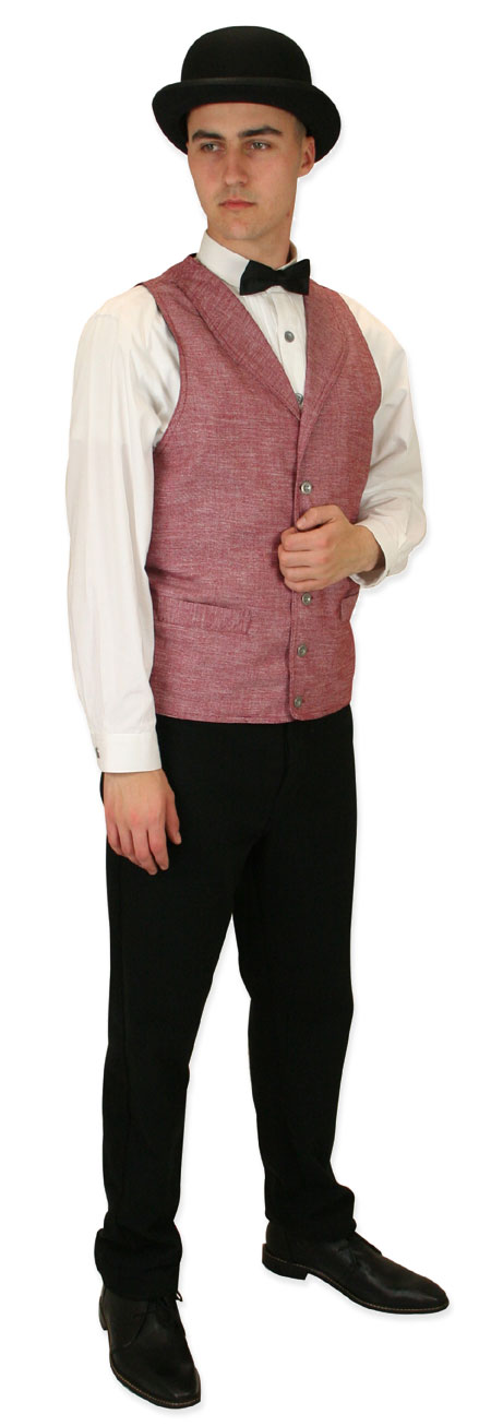 Victorian Mens Burgundy,Red Cotton Blend Solid Shawl Collar Dress Vest | Dickens | Downton Abbey | Edwardian || Bayfield Long-Waisted Vest - Burgundy