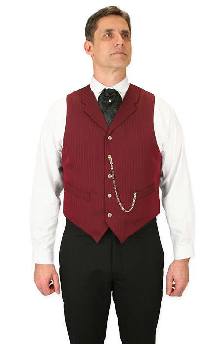 Steampunk Mens Red Stripe Notch Collar Dress Vest | Gothic | Pirate | LARP | Cosplay | Retro | Vampire || Morton Vest - Burgundy