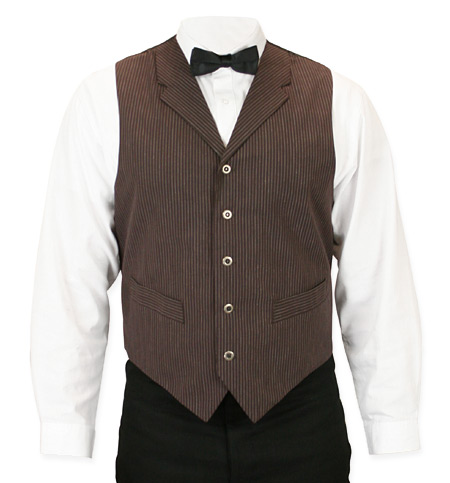 1800s Mens Brown Stripe Notch Collar Dress Vest | 19th Century | Historical | Period Clothing | Theatrical || Morton Vest - Brown