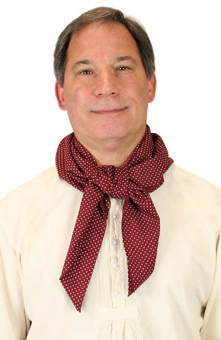 Victorian Mens Burgundy,Red Cotton Geometric Neckerchief | Dickens | Downton Abbey | Edwardian || Cotton Neckerchief - Burgundy Dot