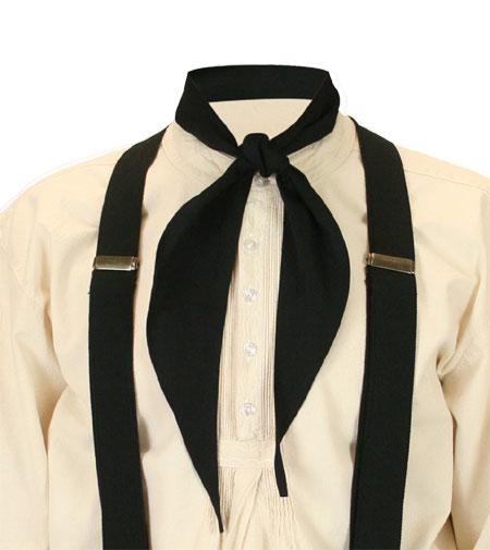 Steampunk Mens Black Cotton Solid Neckerchief | Gothic | Pirate | LARP | Cosplay | Retro | Vampire || Apache Scarf - Black
