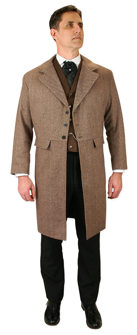 Vintage Mens Brown Herringbone Notch Collar Frock Coat | Romantic | Old Fashioned | Traditional | Classic || Emerson Frock Coat - Brown Herringbone Tweed