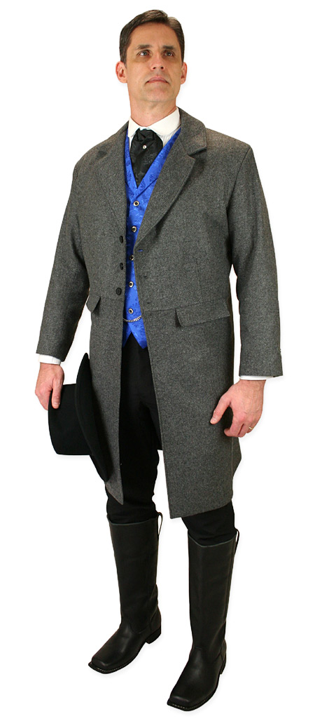 Vintage Mens Gray Herringbone Notch Collar Frock Coat | Romantic | Old Fashioned | Traditional | Classic || Emerson Frock Coat - Gray Herringbone Tweed