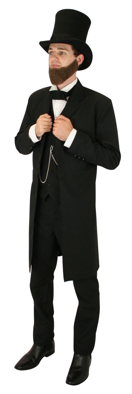 Victorian Mens Black Wool Felt Top Hat   Dickens   Downton Abbey   Edwardian    Lincoln Tall Crown Top Hat