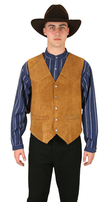 1800s Mens Brown,Tan Leather Solid No Collar Leather Vest | 19th Century | Historical | Period Clothing | Theatrical || Snap Front Vest - Rust