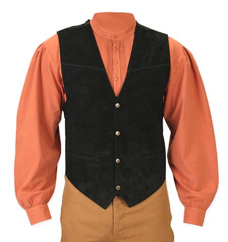 Boar Suede Snap Front Vest - Black