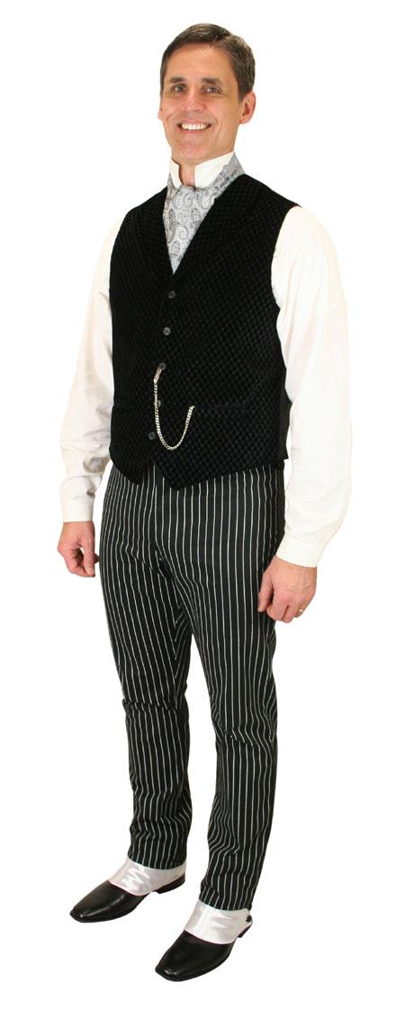 Steampunk Mens Black Solid Notch Collar Dress Vest | Gothic | Pirate | LARP | Cosplay | Retro | Vampire || Lassiter Quilted Vest - Black Velvet