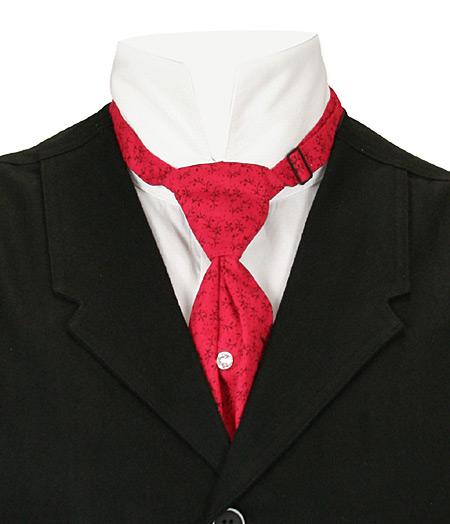 Victorian Mens Red Cotton Print Teck Tie | Dickens | Downton Abbey | Edwardian || Cotton Teck Tie - Crimson Print