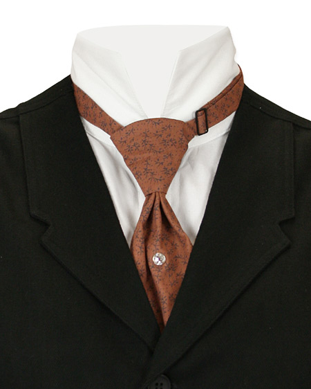Victorian Mens Brown Cotton Print Teck Tie | Dickens | Downton Abbey | Edwardian || Cotton Teck Tie - Brown Print