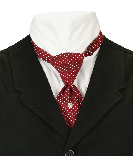 Steampunk Mens Burgundy,Red Cotton Geometric Teck Tie | Gothic | Pirate | LARP | Cosplay | Retro | Vampire || Cotton Teck Tie - Burgundy Dot