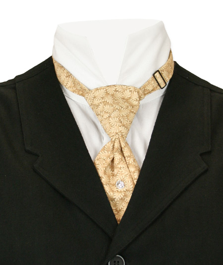 Steampunk Mens Tan,Brown Cotton Print Teck Tie   Gothic   Pirate   LARP   Cosplay   Retro   Vampire    Cotton Teck Tie - Tan Print