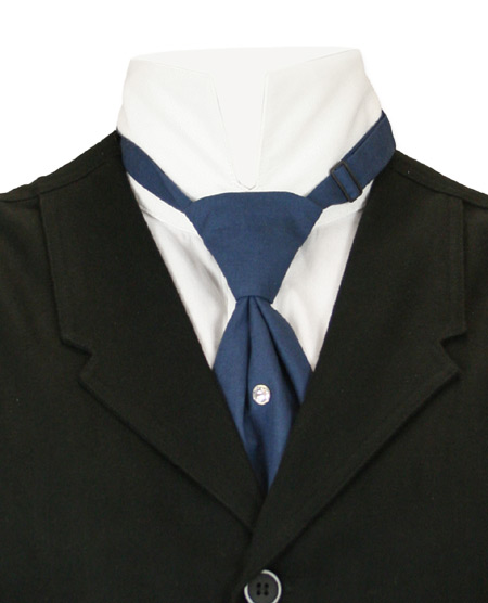 1800s Mens Blue Cotton Solid Teck Tie | 19th Century | Historical | Period Clothing | Theatrical || Cotton Teck Tie - Navy
