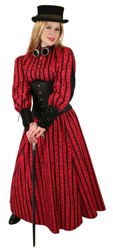 Victorian Ladies Red Cotton Stripe,Print Dress Skirt | Dickens | Downton Abbey | Edwardian || Odessa Skirt - Red Antique Keys