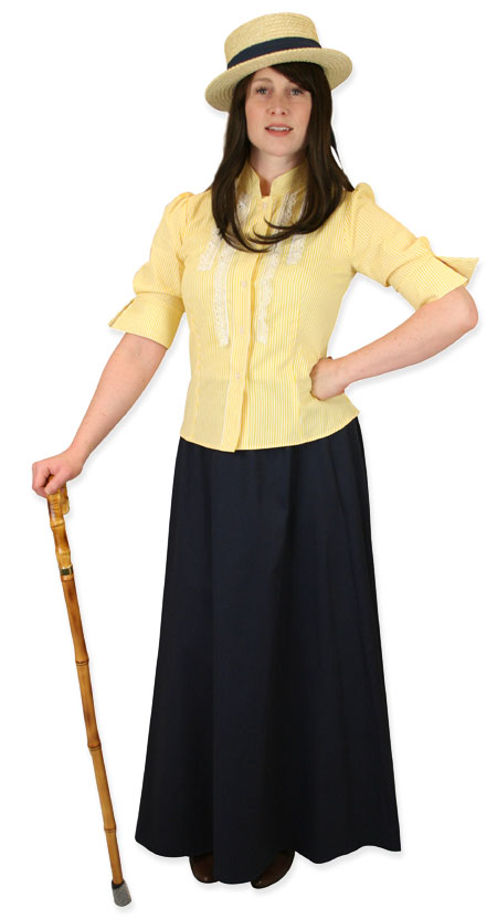 Steampunk Ladies Yellow Cotton Stripe Stand Collar Blouse | Gothic | Pirate | LARP | Cosplay | Retro | Vampire || Louisa Blouse - Yellow Stripe
