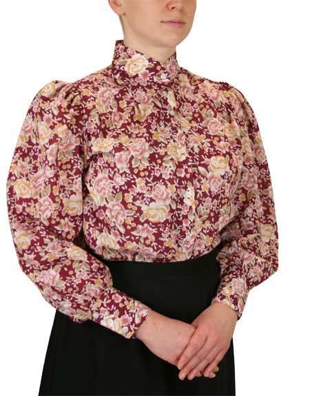 1800s Ladies Burgundy,Red Cotton Floral,Calico Stand Collar Blouse | 19th Century | Historical | Period Clothing | Theatrical || Somerset Blouse - Burgundy Floral