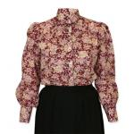 Victorian,Old West, Ladies Blouses Burgundy,Red Cotton Floral,Calico Traditional Fit Blouses,Colorful Blouses |Antique, Vintage, Old Fashioned, Wedding, Theatrical, Reenacting Costume |