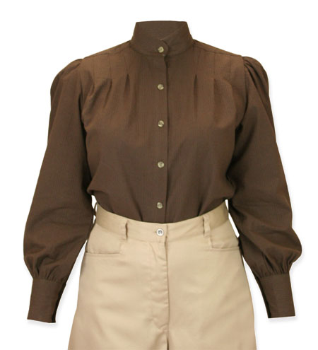 Vintage Ladies Brown Cotton Stripe Stand Collar Blouse | Romantic | Old Fashioned | Traditional | Classic || Sally Blouse - Brown