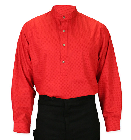 Wedding Mens Red Cotton Geometric Band Collar Work Shirt | Formal | Bridal | Prom | Tuxedo || Glenrock Shirt - Red